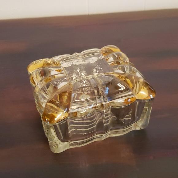 Pretty Vintage Lead Crystal Lidded Trinket Box